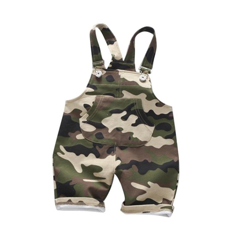 Ocasional do Verão Do Bebê Lactentes Crianças dos miúdos Das Meninas Dos Meninos Roupas de Camuflagem Macacão de Algodão Shorts Calças