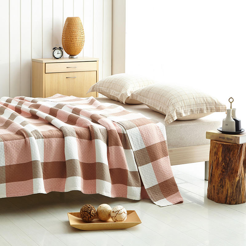 مفرش سرير من القطن, بطانية صيفية منقوشة باللون الأحمر