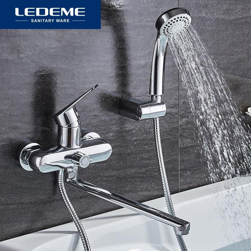 LEDEME-صنبور حمام مثبت على الحائط مع بخاخ يدوي ، لحوض الاستحمام والدش ، L2240