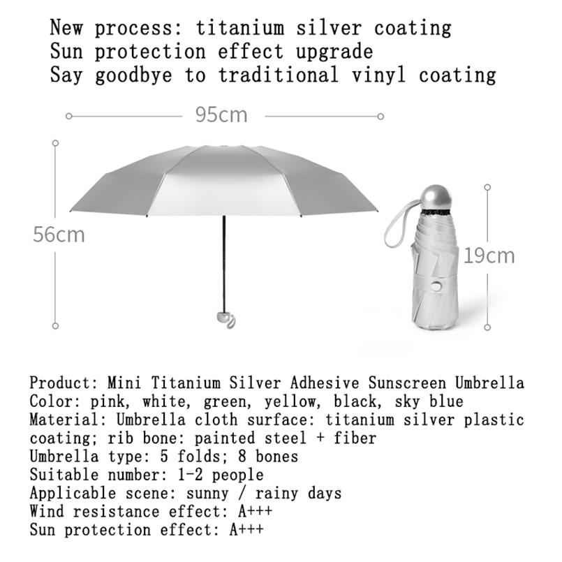 Women Men Children8 Ribs Pocket Mini Umbrella Anti UV Paraguas Sun Umbrella Rain Windproof Light Folding Portable Umbrellas for enlarge