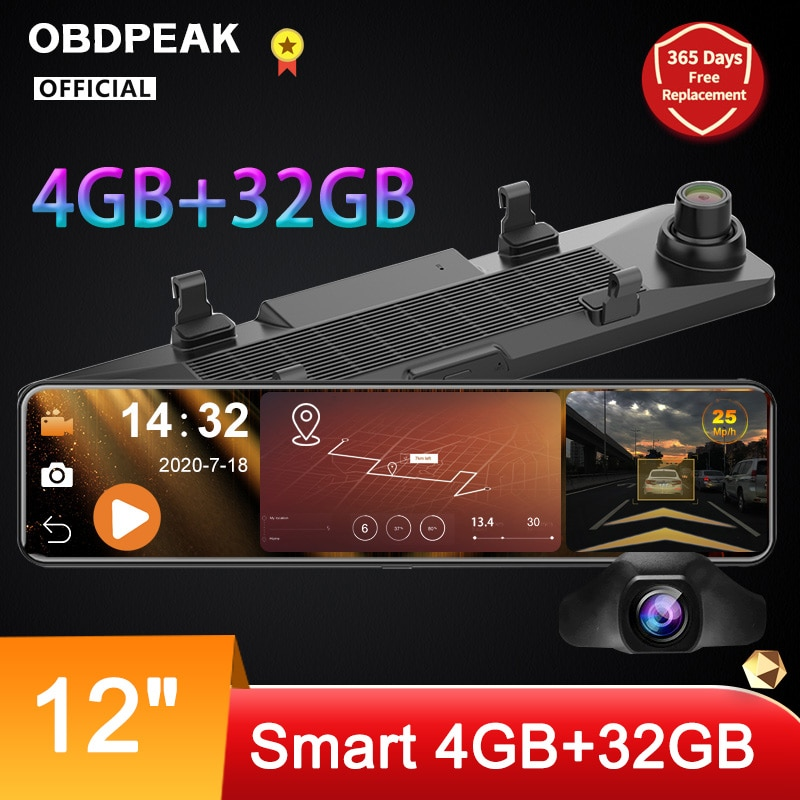 OBDPEAK D90 4GB+32GB Car DVR Camera Android 8.1 Stream RearView Mirror 12'' 1080P Drive Video Auto Recorder Registrator Dash cam