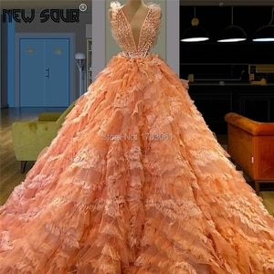 Sexy V Neck Beading Evening Dresses New Arrivals Prom Dress Long Lace Tiered Party Gowns For Dubai Arabic Kaftans Robe De Soiree