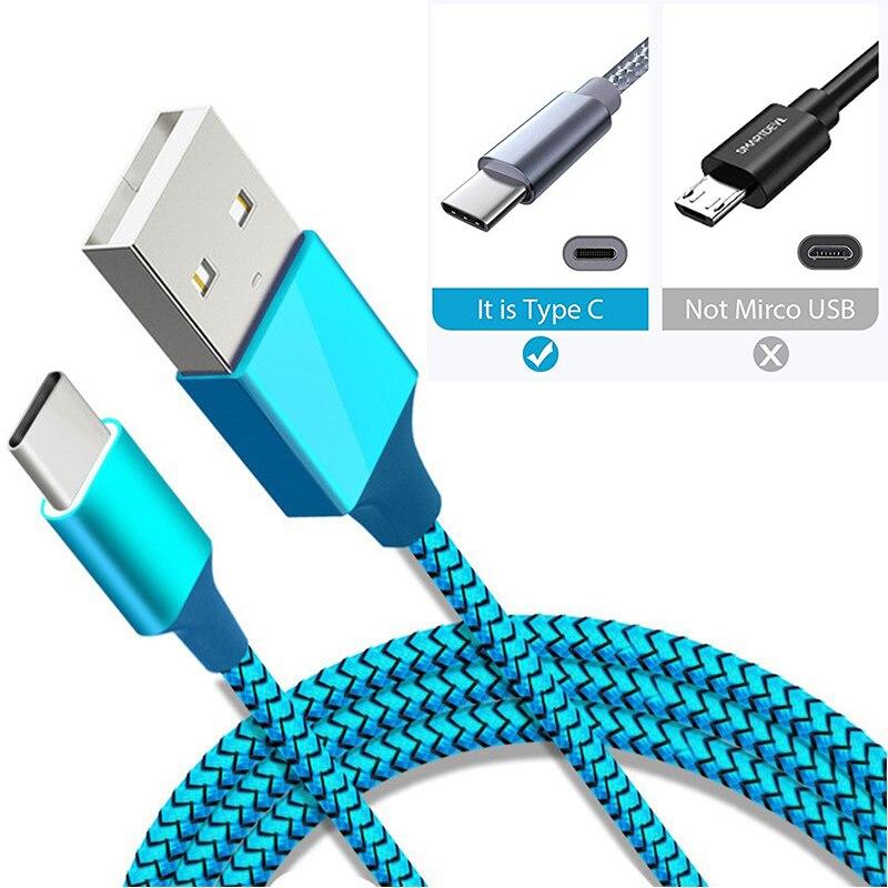 Cargador de batería de teléfono móvil azul tipo C USB para Samsung A7 2018 A50 S10 S8 S9 Cable de carga rápida para Cable de Cable redmi K20 Pro