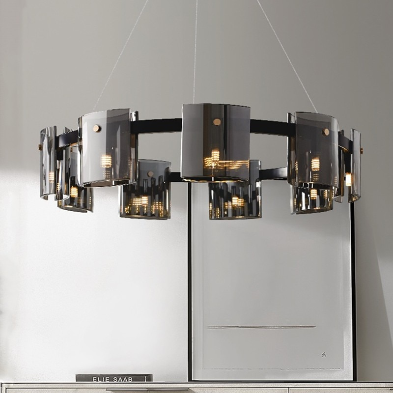 Creative Modern LED Chandelier Lighting Dining Living Room Luxury Hanging Lamp Amber/Smoky Glass Bedroom Study Deco G9 Fixtures