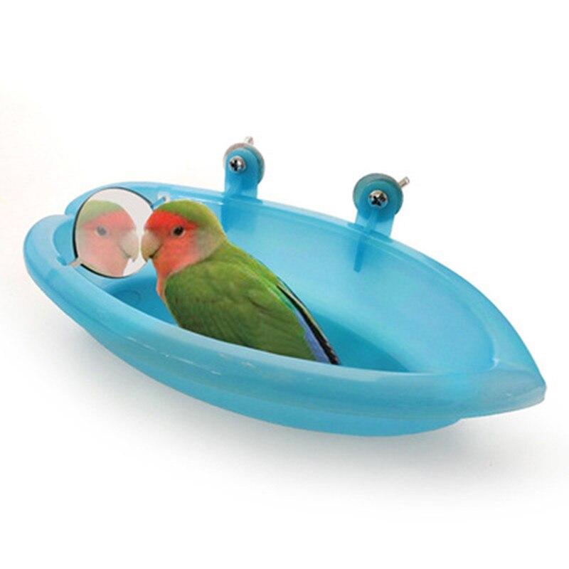 Parrot Bathtub With Mirror Pet Cage Accessories Bird Mirror Bath Shower Box Bird Cage Pet Small Bird Parrot Cage Bird Toys A