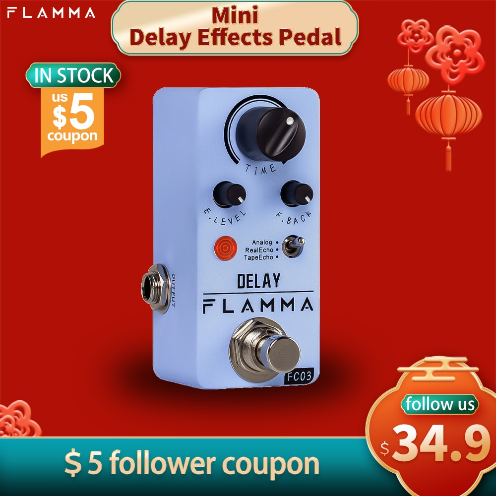 Flamma FC03 Mini Vertraging Pedaal Digitale Gitaar Delay Effecten Pedaal Met 3 Modes Analoge Real Echo Tape Echo