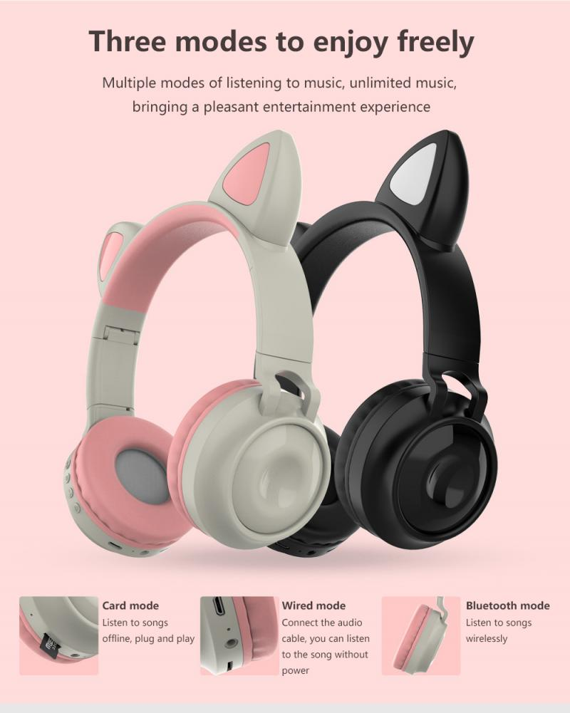 Cute Wireless Headphones Glowing Bluetooth-compatible 5.0 Headphone For Girls Cat Ear Headset Hifi Stereo Music With Microphone enlarge