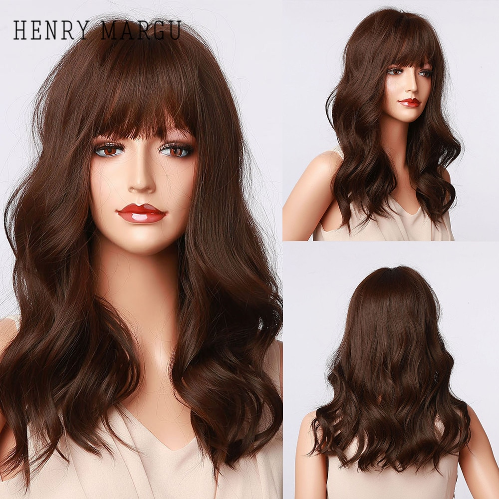 HENRY MARGU Long Bob Wavy Synthetic Wigs With Bangs Dark Brown Ombre Natural Daily Wigs for Women Cosplay Wigs Heat Resistant