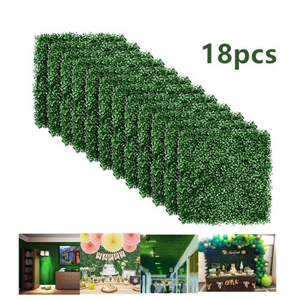 18 Pcs Outdoor Kunstmatige Hedge Privacy Hek Gras Mat 40X60 Cm Verticale Tuin Planten Balkon Decoratie