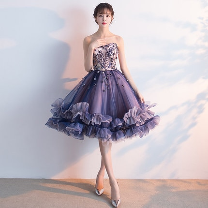 2020 New Evening Dress Short Section Was Thin Banquet Tube Top Pettiskirt Korean Version Spring Formal Dresses Gown