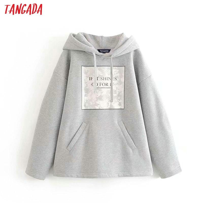 Tangada mujer carta Impresión de lana Sudadera con capucha sudaderas moda de gran tamaño señoras suéteres caliente bolsillo chaqueta con capucha 6P86
