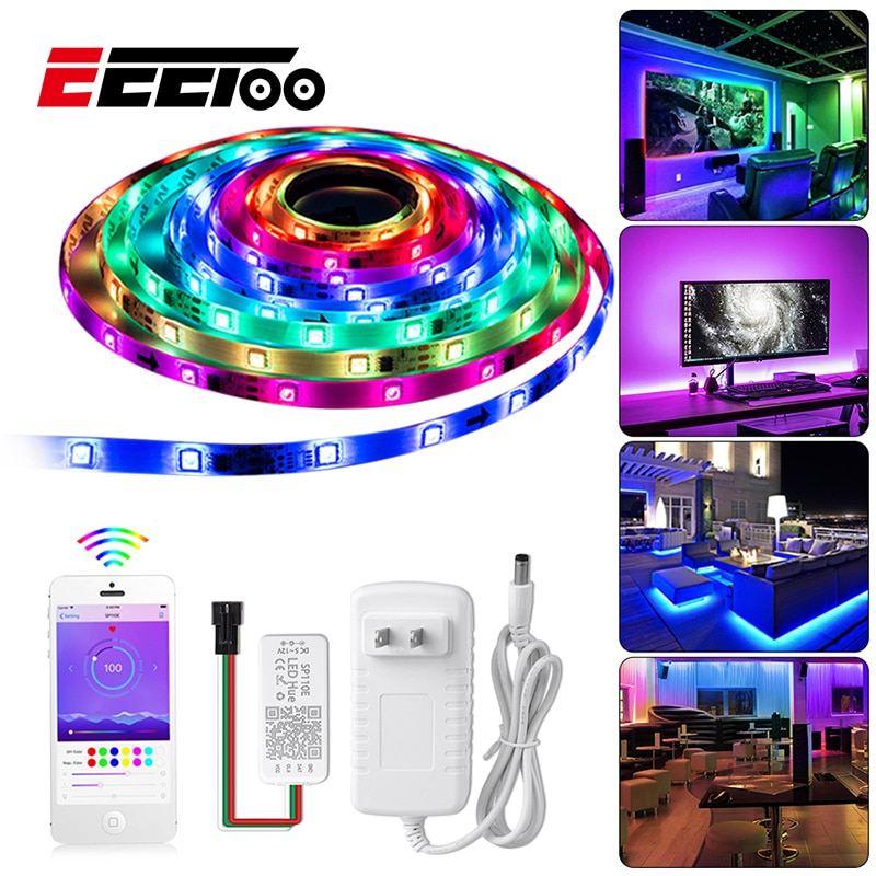EeeToo Led inteligente tira de luces impermeable cinta RGB DC12V Flexible cinta diodo Bluetooth 4,0 luz nocturna LED con controlador inteligente adaptador de la UE iluminación del hogar