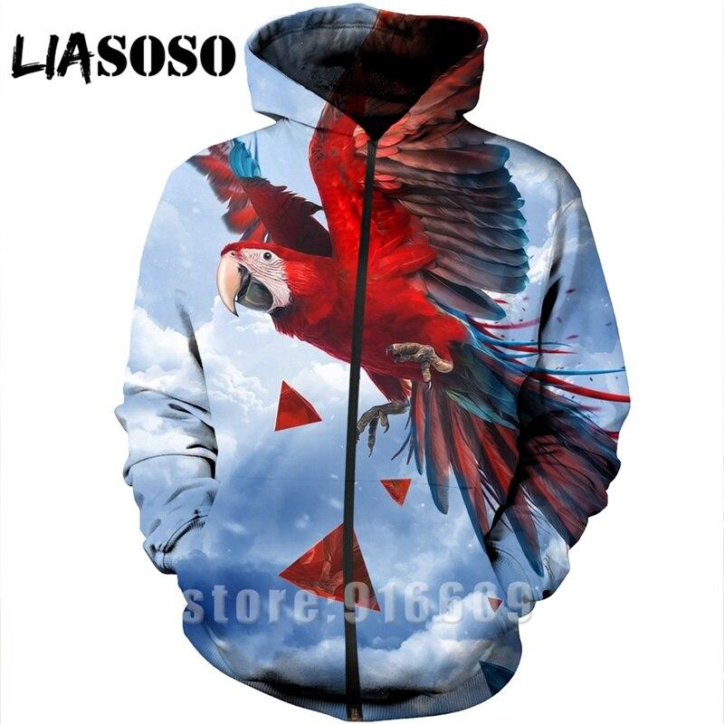 Sudadera con capucha con estampado 3D para hombre rock Men parrot rose mujer bird streetwear Harajuku sudadera camisa con cremallera anime manga larga sudaderas A329