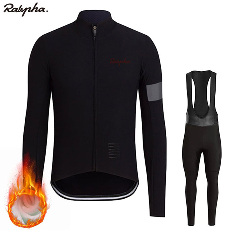 Ralvpha Ropa ciclismo Warm 2019 Winter Warm Fleece cycling  Jersey Men's Jersey Suits Riding Clothing Bib Pants Set Fleece Wool