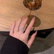 MENGJIQIAO Koreanische Mode V Geformt Cubic Zirkon Ringe Für Frauen Mädchen Elegante Mittlere Finger Knuckle Ringe Partei Schmuck Geschenke
