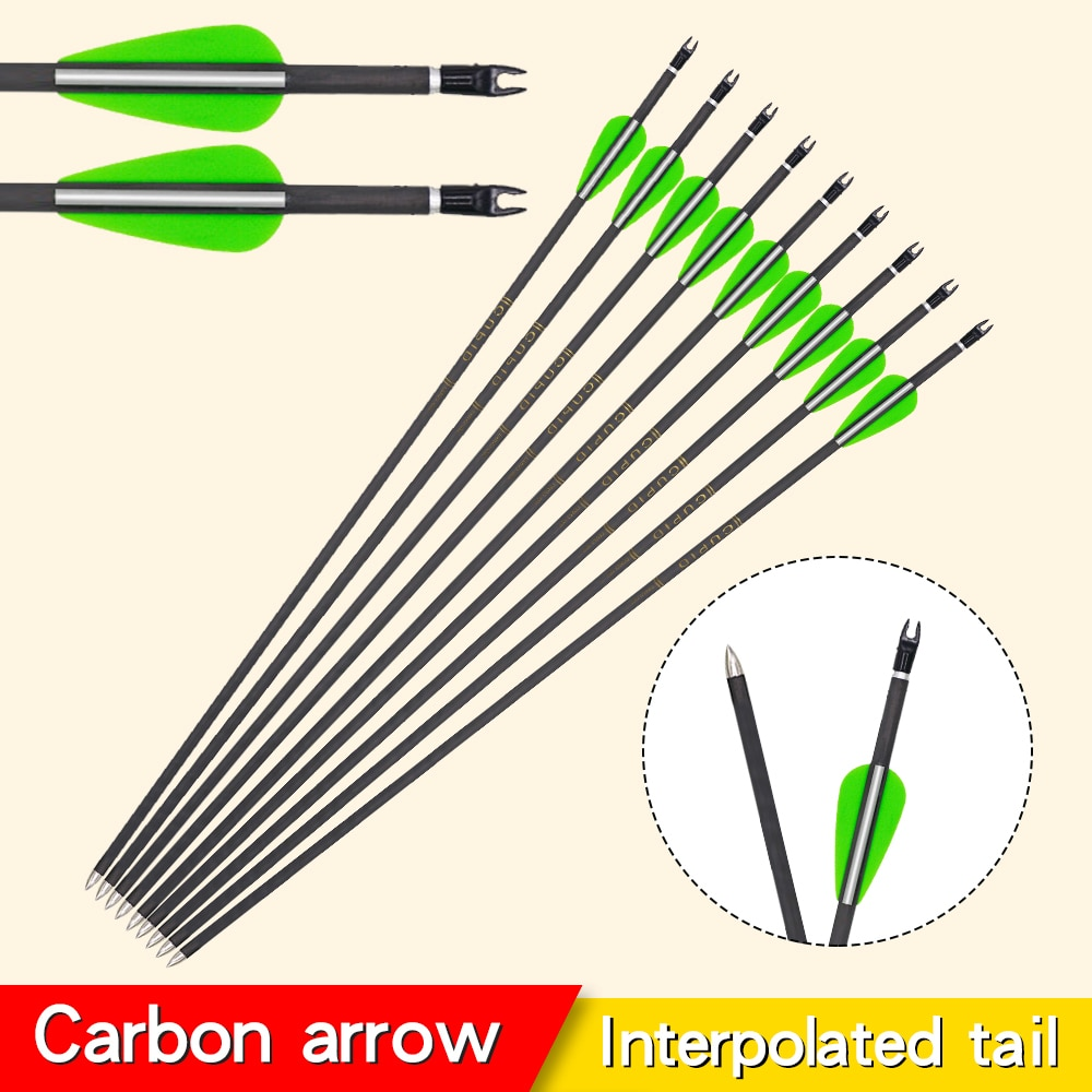 6/12/24pcs Carbon Arrow Hunting Bow And Arrow for Recurve/Compound Bow Shooting Professional Archery Accessories Practice arrows adjustable archery arrow quiver holder tube arrows for archery hunting compound bow or crossbow arrow