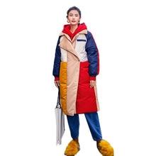 Harajuku Style hiver manteau femmes mode Hit couleur longue veste femmes Parka 2019 nouveau surdimensionné femmes plus épais chaud coton pardessus
