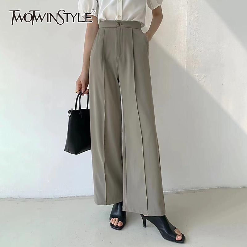 TWOTWINSTYLE خمر الصلبة بانت للنساء عالية الخصر مطوي كامل طول مستقيم سراويل تقليدية الإناث الصيف موضة 2021