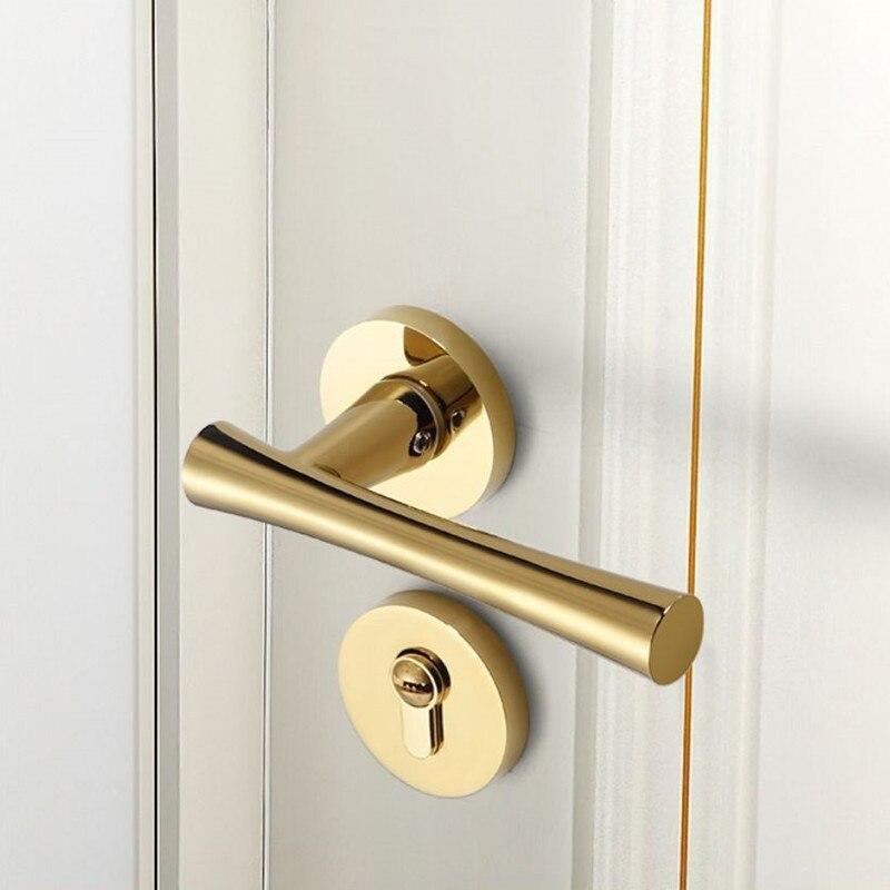 سبليت قفل PVD الذهبي داخلي قفل باب الغرفة النحاس الأساسية كتم غرفة نوم الصلبة سبائك الزنك مقبض قفل قفل الباب الميكانيكية