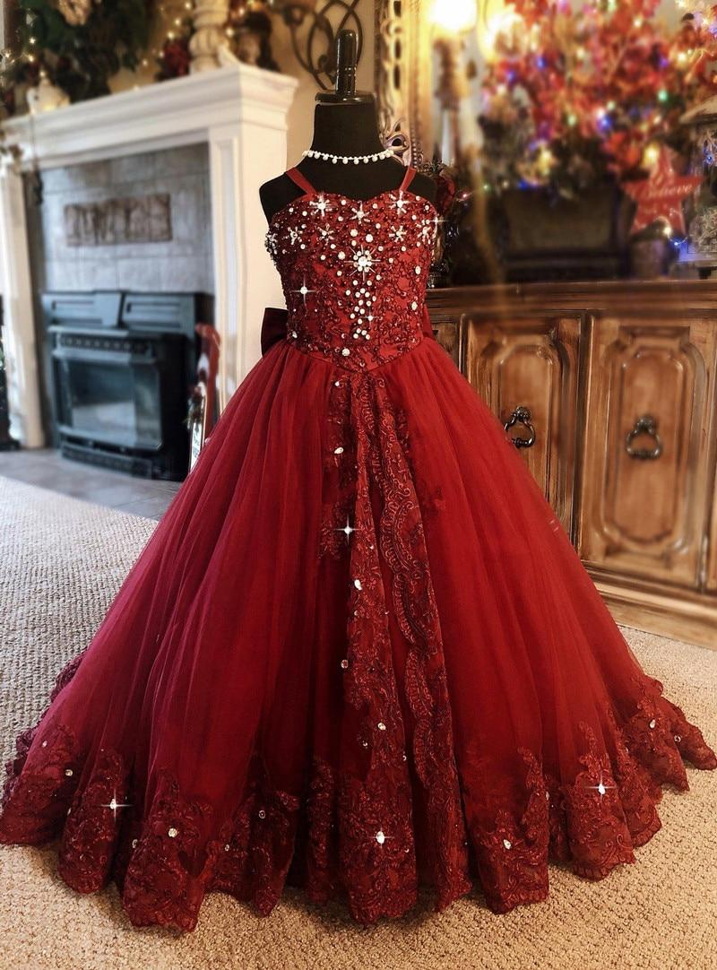 Vestido da menina da flor vermelha espaguete strass applique casamento festa tule vestido de baile sem mangas até o chão princesa vestidos da menina