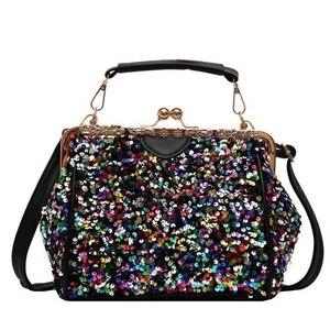 Fashion Vintage Lock Shell Shine Bag Bling Bags Women Shoulder Crossbody Bag Tote Women's Handbags Purses