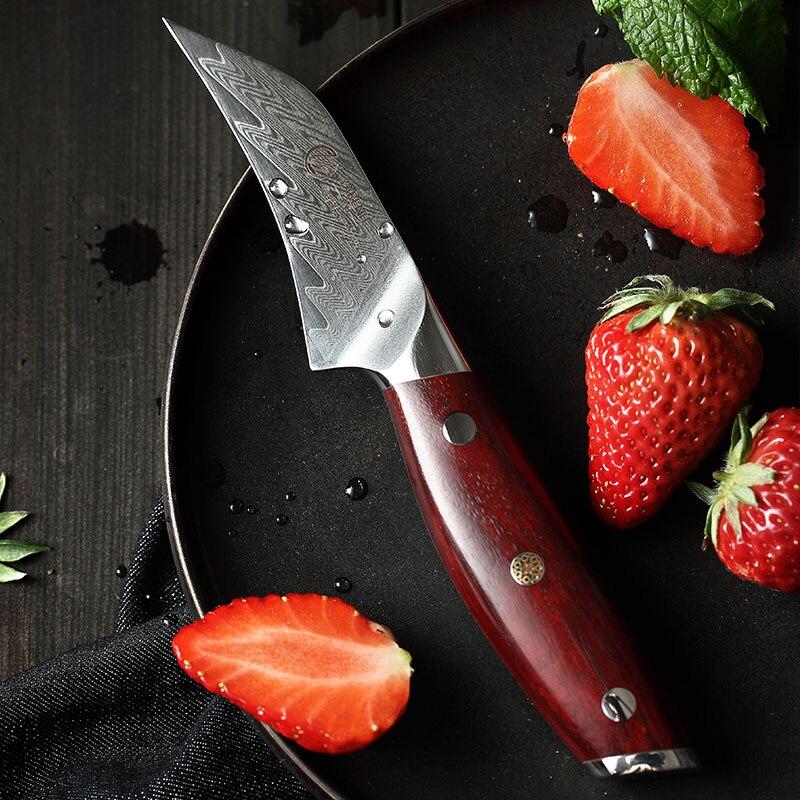 YARENH 3 بوصة سكينة فاكهة - أفضل سكاكين المطبخ-الشيف الفاكهة تقشير سكين -67 طبقات اليابانية دمشق الصلب روزوود مقبض