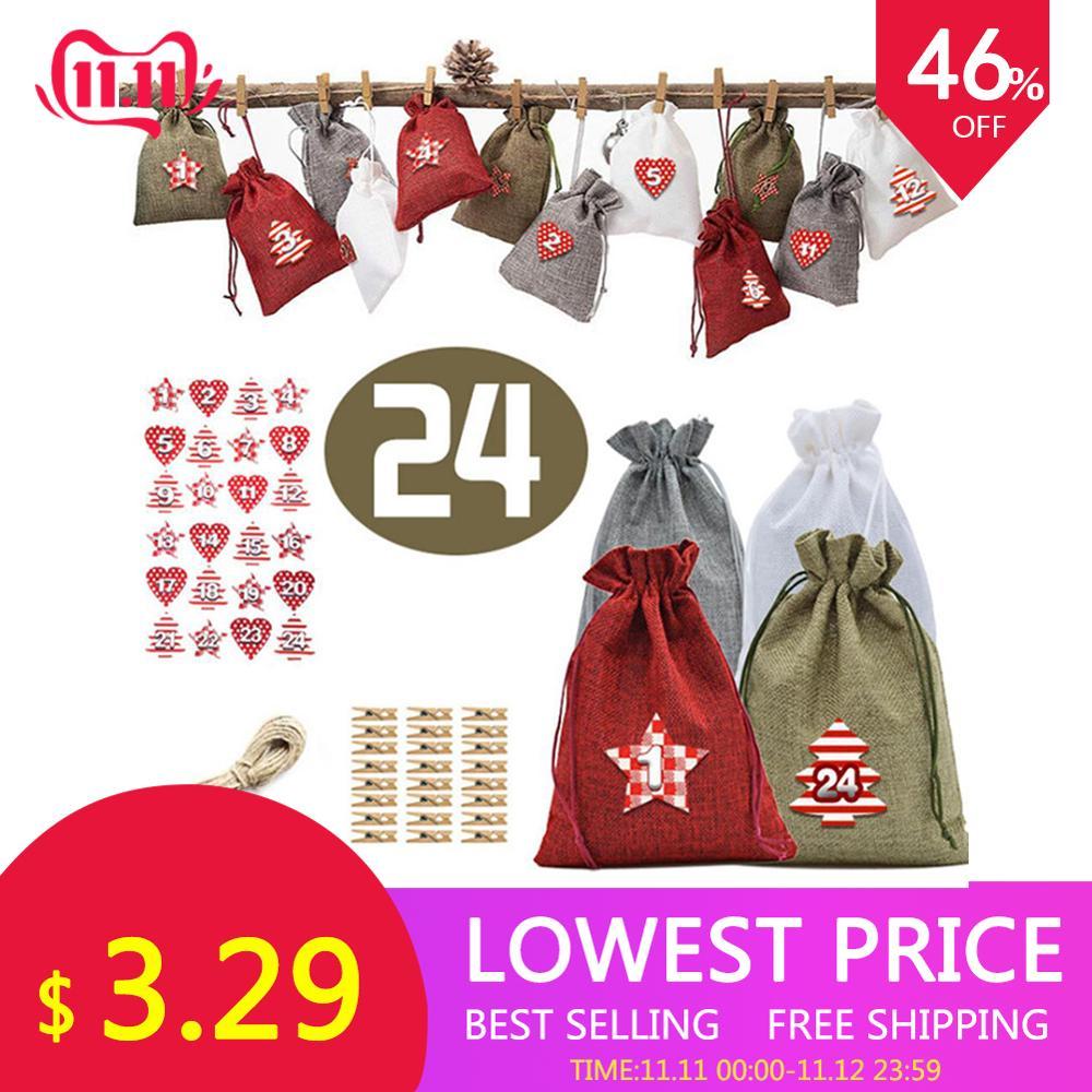 Christmas Advent Calendar Bags Set 24 Days Burlap Advent Calendar Gift Drawstring Bags DIY Christmas Embellishments with Clips