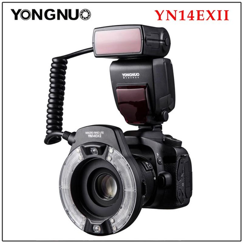 Yongnuo YN14EX II YN14EX TTL LED حلقة ماكرو ضوء فلاش مصباح مزدوج ماكرو فلاش لكانون 5D4 1DX2 5Dsr 750D 6d2 DSLR كاميرا