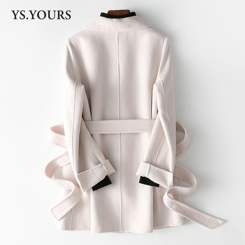 Новинка Зима 2021, шерстяное пальто, женское двубортное шерстяное пальто средней и длины с воротником-костюмом в Корейском стиле, внесезонное...