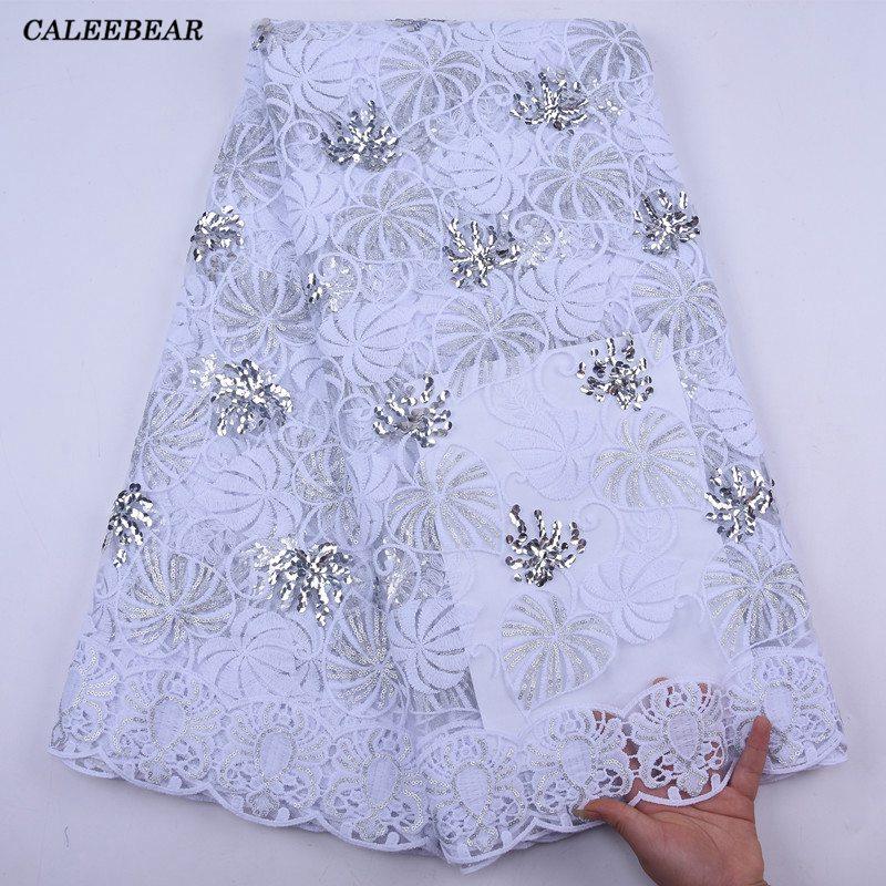 2021 новейшая белая, африканская, с блестками кружевная ткань с вышивкой французская сетчатая кружевная ткань с нигерийский тюль с блестками ...