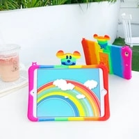 rainbow case for samsung pad t295 t290 t297 tab a 8 0 inch cute 3d cartoon kids cover for xiaomi 4 plus 10 8 inch silicon funda