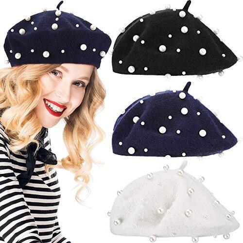 French Beret Hat Women Girls Princess Pearl Woolen Berets Plain Beanie Autumn Winter Warm Wool Hat S