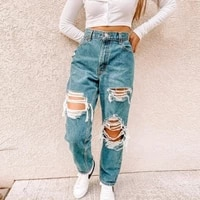 hollow ripped straight jeans womens 2021 new fashion loose high waist mom boyfriend jeans
