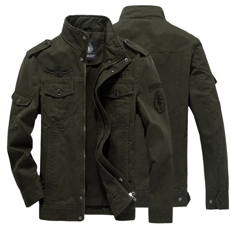 New men's jacket in autumn and winter of 2019 military casual coat large men's pure cotton jacket