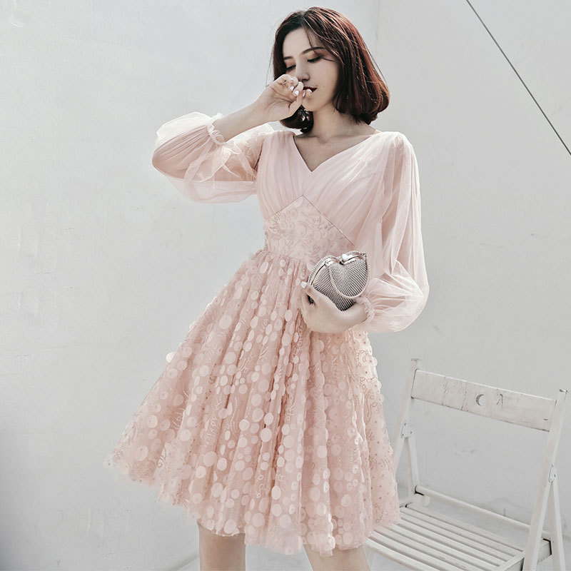 2019 New Fashion Short Party Dress Full Sleeve Sexy V-neck Illusion Banquet Evening Dresses Prom For