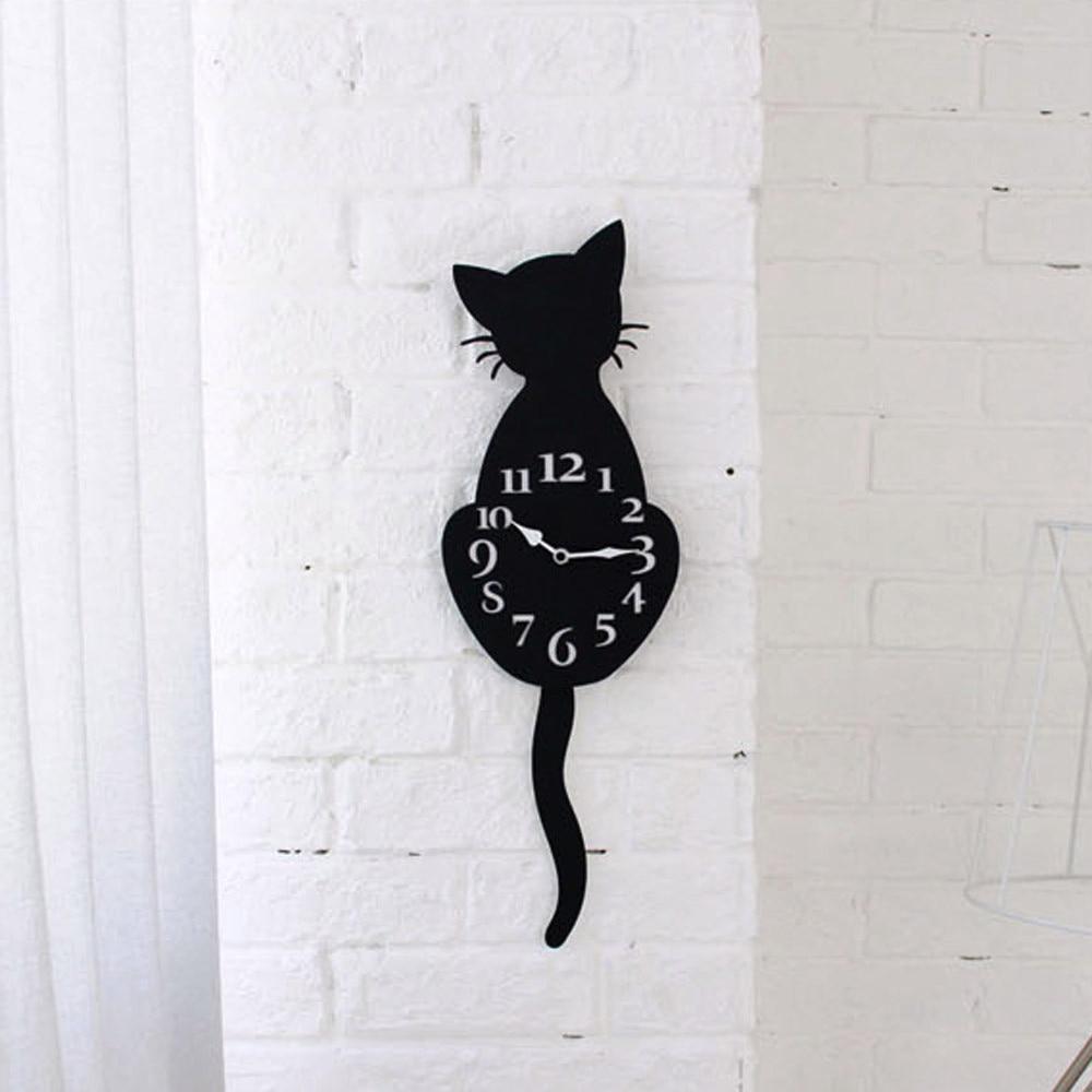 Часы-Будильник, креативные милые настенные часы с изображением черного кота, настенные часы для дома, практичное украшение на стену # YL10