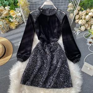 Spring Autumn Lady Elegant Party Dress 2020 Korea Fashion Women Vintage Sequined Long Puff Sleeve Empire Short Dress G942