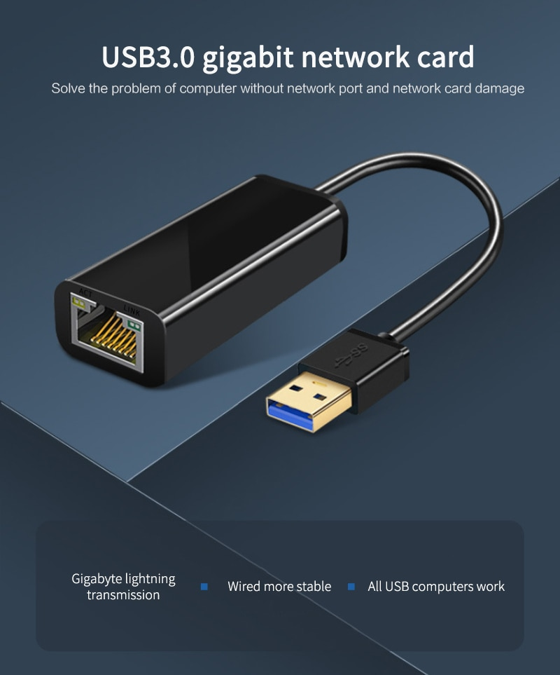 Realtek-convertidor Ethernet para ordenador portátil, Adaptador de tarjeta Lan RJ45, USB 3,0,...