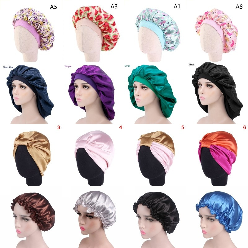 Women Night Sleep Hat Adjust Satin Bonnet Hair Styling Cap Long Hair Care 29 Styles Silk Head Wrap S