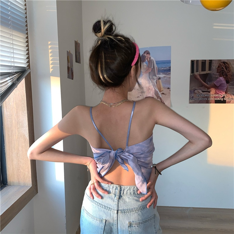 lace up back halter top with split skirt Cross Halter Top Short Knitted Small Halter High Waisted Midriff-Baring Lace-up 2021 Summer Women's Casual Camisole Top