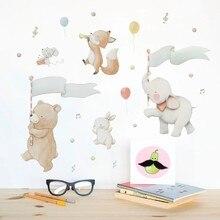 Autocollant mural bricolage souris lapin PVC   Autocollant déléphant, peinture danimaux de dessin animé pour chambre de bébé, décoration de maison, affiche de papier peint
