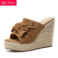 QUTAA 2020 Butterfly-Knot Peep Toe Summer Ladies Pumps Flock Slingback Platform Women Shoes Wedge High Heel Sandals Size 34-43