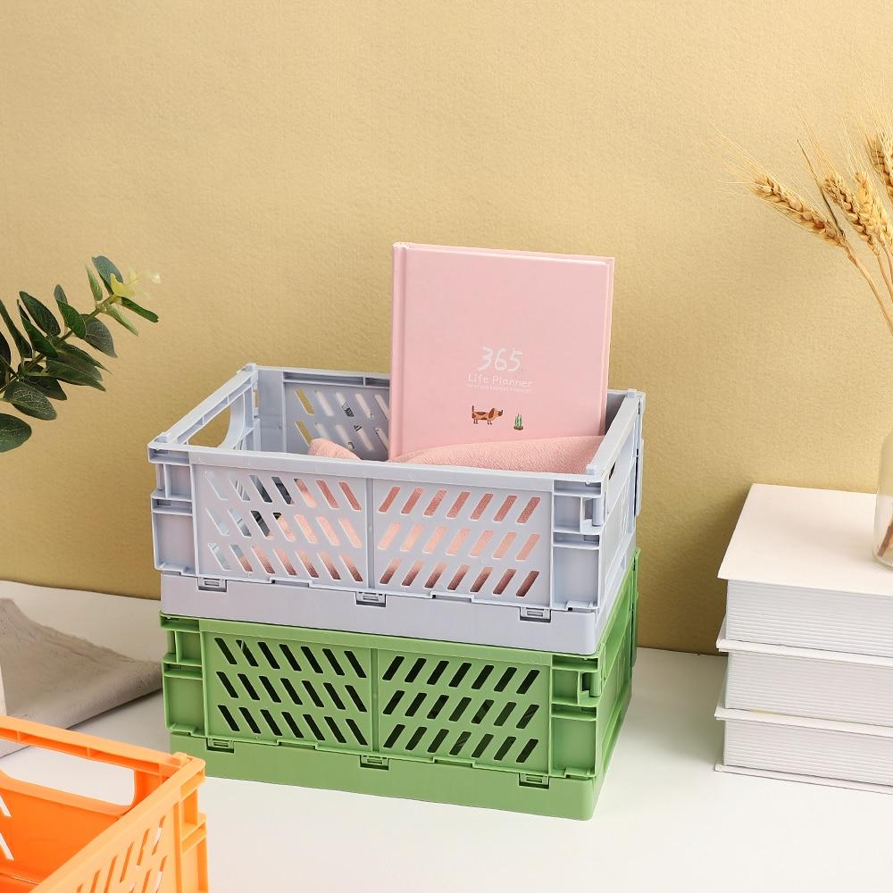 JIANWU High Capacity Foldable Plastic Storage Basket Desktop Organizer Journal Tape Sundries Storage