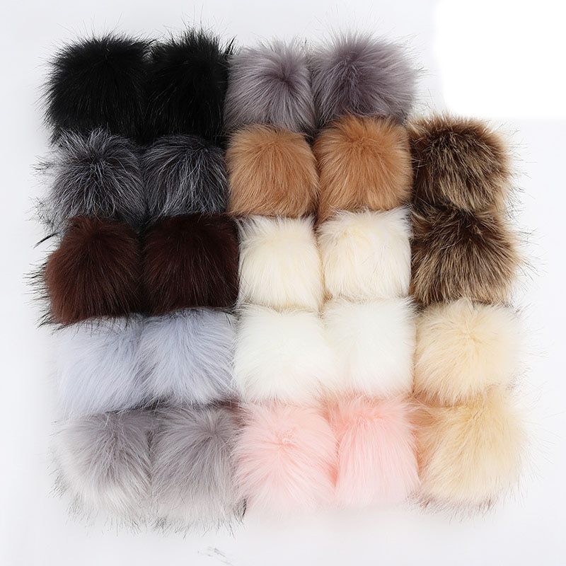 10cm Raccoon Fur Pompoms for Knitted Winter Hat Cap Real Fox Pom Poms For Beanies Scarves Real Fur P