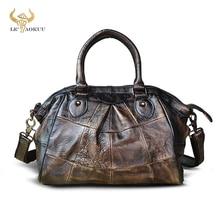 Coffee Natural Leather Famous Brand Luxury Ladies Vintage Shopping handbag Shoulder bag Women Design