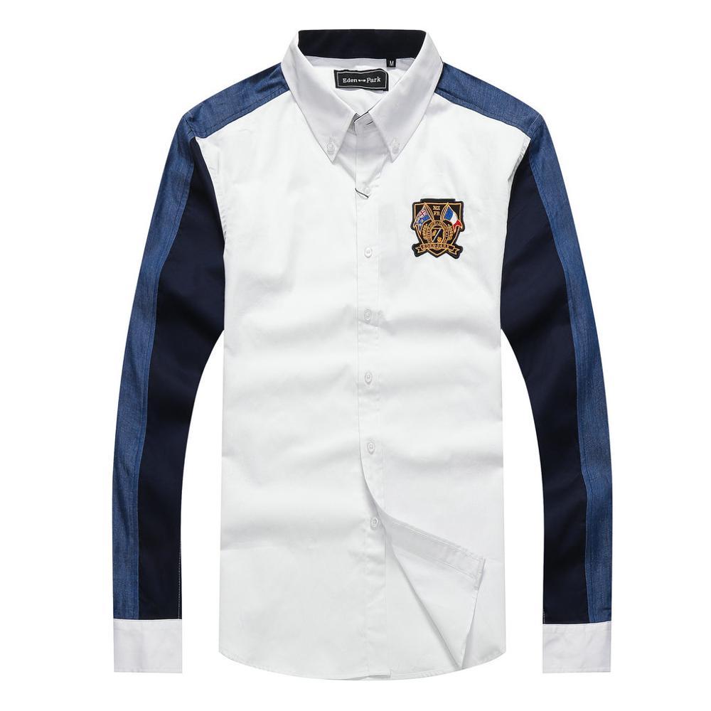 Factory Eden park Brand Embroidery Shirt men Slim Chemsie homme Business Pure Cotton male dress Shirts Plus size M-XXL Camisas