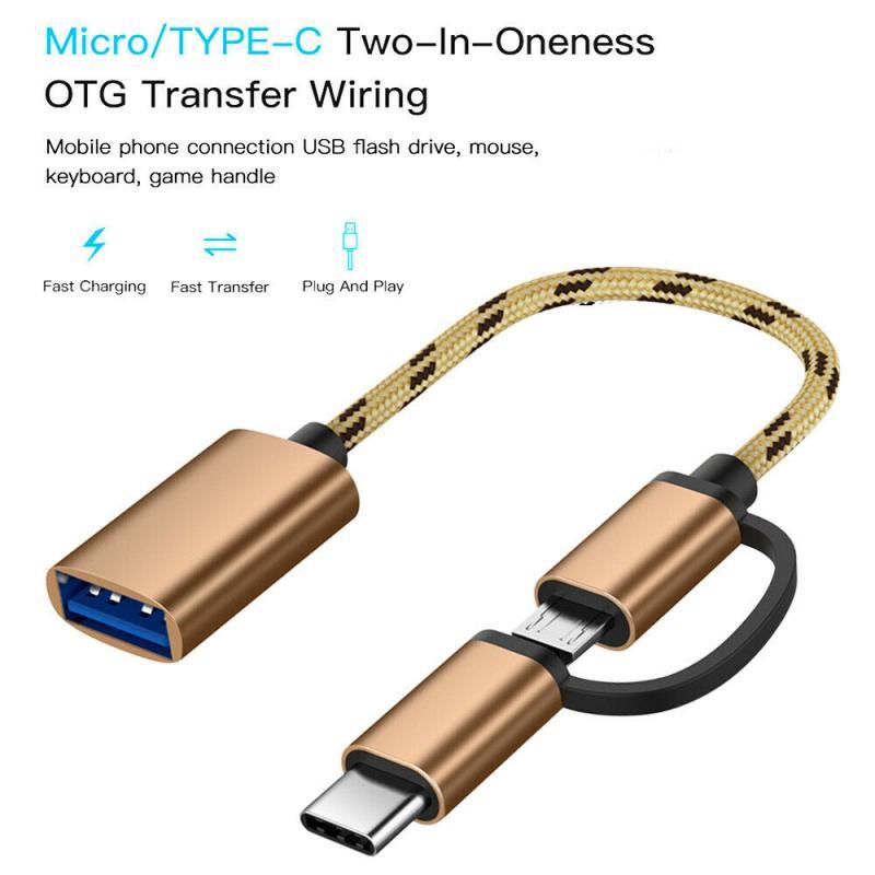 Micro USB 2 en 1 tipo-C a USB 3,0 Cable adaptador OTG...