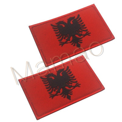 Albania parche bandera bordada insignia del ejército táctico Escudo de combate pegatina de aplicación parches de moral militar