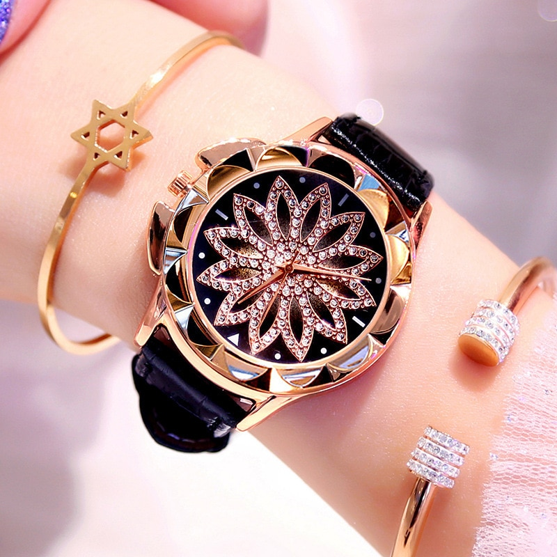 1PCs Rhinestone Women Quartz Watches Ladies Watch Leather Big Dial Crystal Diamond Flower Clock Fashion Bracelet Wrist Watch