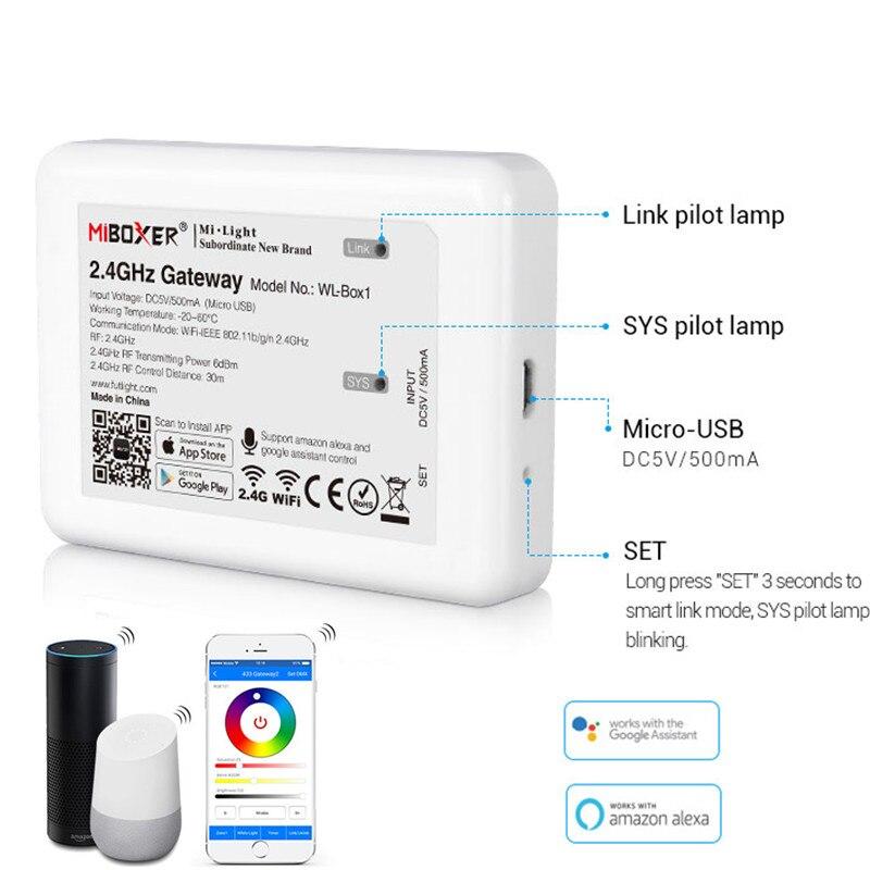 Miboxer WL-Box1 2.4ghz gateway wifi rgb controlador dc5v compatível com ios/andriod sistema de controle app sem fio para luzes led